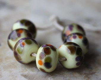 lampwork set pale yellow with purple green brown seven glass beads