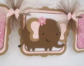 Elephant baby shower banner, brown and pink, it's a girl, photo prop