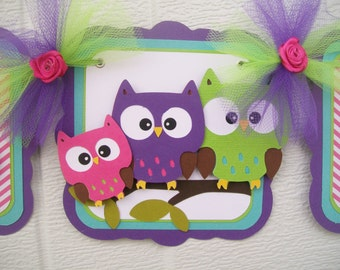 Owl family banner, owl family baby shower, owl baby shower, owl banner, owl baby, it's a girl banner, owl decorations, pink, purple and teal