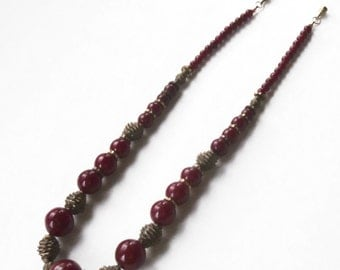Art Deco Necklace Deep Red Burgandy Beads Twisted Brass Wire Beads 1930s Retro Jewelry