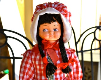 Country Cottage Retro Doll with Braids in Red Checkered Gingham Cotton Fabric Dress and Bonnet