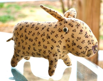 Handmade Retro Floral Pig - Standing Curly Tail Button Nose Brown Cotton Fabric Piglet Stuffed Animal Toy