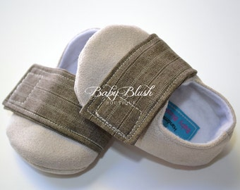 Beige Brown Baby Boy Soft Soled Baby Shoes - Infant Shoes