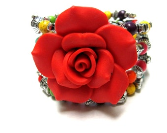 Rainbow Stone Bracelet Western Wrap Red Rose Cuff