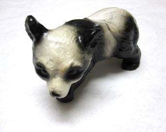Mexican Chalkware Panda Signed Black White Bear Mexico