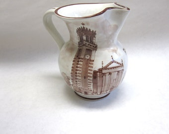 Brown White Pitcher Aviano Italy Ceramic Italian