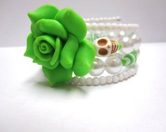 Sugar Skull Bracelet Day of the Dead Bracelet Green White