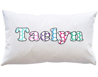 Personalized Adorable Girls Pillowcase POLKA DOTS DOTTED Bedroom Decoration Name purple pink Green