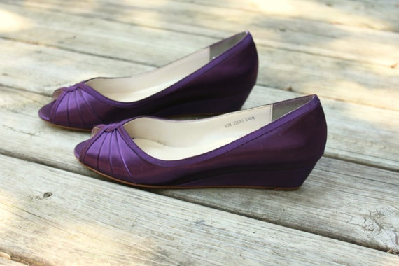 Purple Wedding Shoes Wedge Low heel 1 inch wedge shoes size
