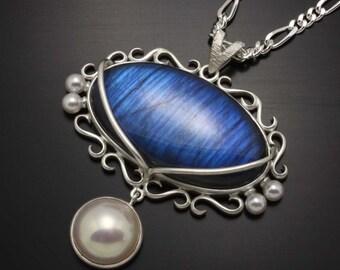 Blue Labradorite and akoya pearl pendant necklace, Art Nouveau style silver pendant necklace