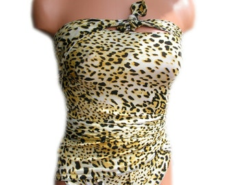Yellow Cheetah Print Large Bathing Suit One Wrap Swimsuit Animal Print Maternity Swim Suit Swimming Costume Badeanzug Maillot de Bain