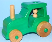 X LARGE-Wooden Farm Tractor  - GREEN
