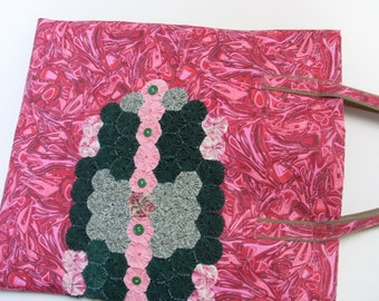 Tote Bag with applied yo yos