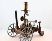 steampunk sculpture Tesla Time Tractor - steamplanet