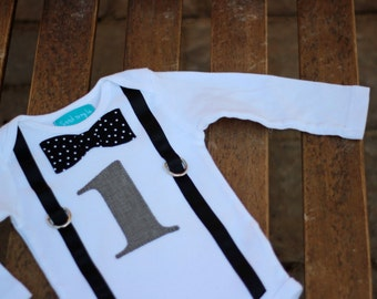 First Birthday Shirt Gray Black and White Polka Dots Baby Boy 1 Little Man 1st Birthday