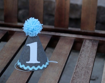 Custom Birthday Hat First Birthday Party White Gray Light Blue Baby Blue 1st Birthday Outfit Toddler Baby Boy or Girl