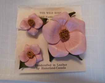 Vintage Leather Hand tooled Flower Brooch and Earrings - leather scrapbooking flower - craft supplies