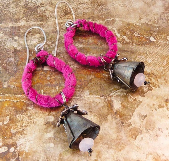 Recylced tin and fabric earrings with bells