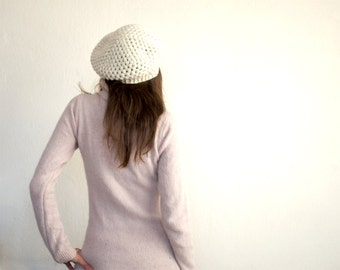 Pure Wool Crochet Beret in Ivory White, Hand-knitted Natural Winter Accessories, Bohemian Fashion