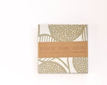 Abstract Pattern Ceramic Coasters, Beige and White, set of 4