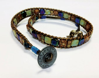 The Debra double wrap mosaic bracelet