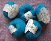 Cashmere and wool yarn, blue baby wool, 5 skeins, 250grams