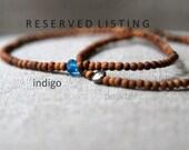 R E S E R V E D  L I S T I N G sandalwood antique bead bracelet -small bead sandalwood bracelet indigo cobalt - sandalwood jewelry - blue
