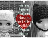 Knitting Pattern Package Deal- Felted Helmets for Neo and Middie Blythe