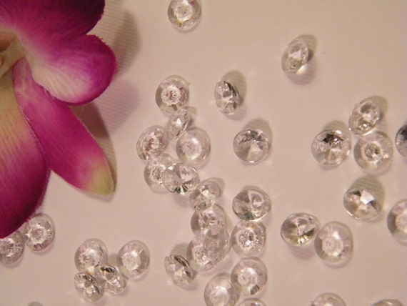 Table Confetti Faux Diamonds - Plastic -1000 MICRO Small Table Scatter Decoration Wedding - Clear Solitare- Party Decoration Supply - Bling