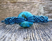 Handmade Micro Macrame Bracelet in Blue with Mosaic Turquoise Donut Stone