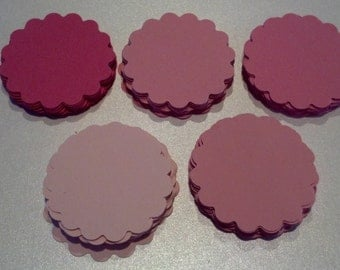 100 Pink Valentine Colors Scalloped Circle Punches Die Cuts Embellishments 2 inch --