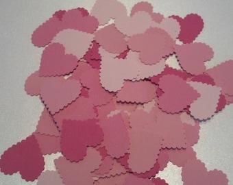 100 Pink Scalloped Valentine Hearts Die Cuts Confetti Die Cuts Embellishments 1 1/4 inch
