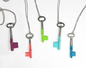 Set of 5 Custom Bridesmaids Gifts - Antique Skeleton Key Necklaces - Custom Colors
