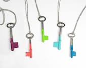 Set of 5 Custom Bridesmaids Gifts - Antique Skeleton Key Necklaces - Custom Colors