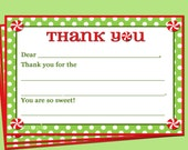 Christmas Thank You Note Printable - Instant Download