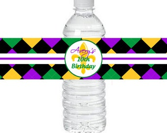 Personalized Mardi Gras Water Labels Printable - Mardi Gras Soiree Collection
