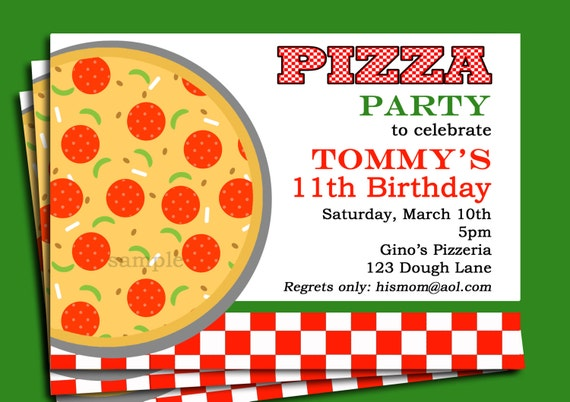 pizza party invitation printable or printed with free shipping, Party invitations