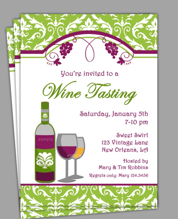 wine tasting invitation printable or printed with free, Party invitations