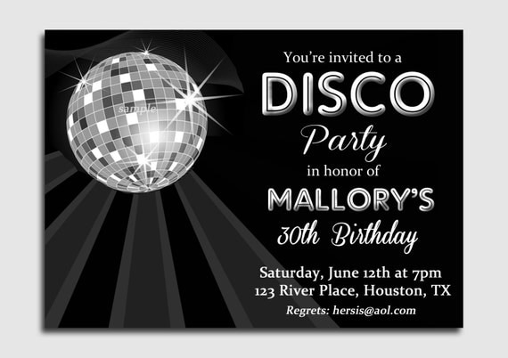 disco ball invitation printable or printed with free shipping, Birthday invitations
