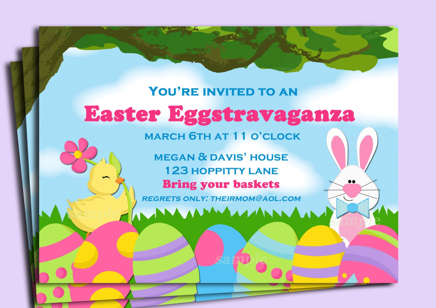 Easter Egg Invitation Printable Or Printed With Free Shipping