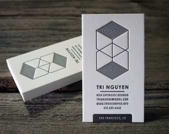 Custom Letterpress Business Card and Graphic Design Package - 100qty