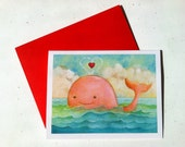 Whale you be my Valentine Valentine's card by Megumi Lemons