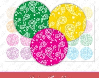 "INSTANT DOWNLOAD - 2.5"" Circles 8.5x11 in Paisley 04 JPG pink blue purple green Bottle cap Hair bow Resin Stickers Hangtags Print Your Own"
