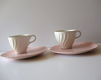 Vintage snack set sets pink snack plates with ivory swirl cups set 2