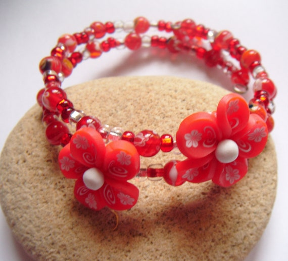 Memory Wire Wrap Cuff  Band Bracelet with Polymer Clay RED FLOWER Millefiori SALE