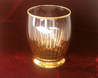 Mid Century Shot Glass Atomic Gold Paint Hand Painted Vintage 1950s