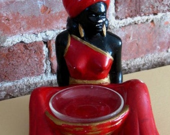 Vintage Ashtray Figural Chalkware Sitting Genie Woman India Indian Incense Holder Bookend