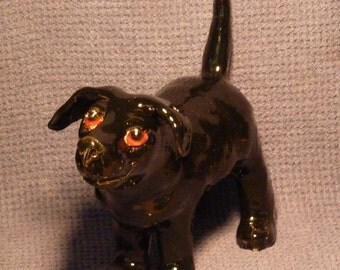 Art Pottery Black Dog Sculpture handmade in USA from a lump of clay or a custom Dog