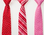 Boys Valentine's Day Ties - Red with White Dots, Red and White Stripes, or Pink with White Dots - Choose One