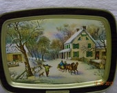 Currier and Ives American Homestead Winter Serving Tray, wall hanging